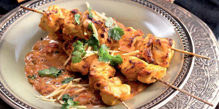 Brochettes de poulet à l'indienne