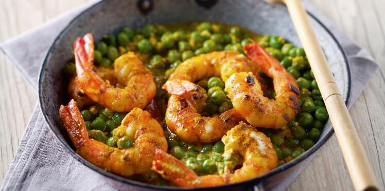 Curry aux petits pois et crevettes