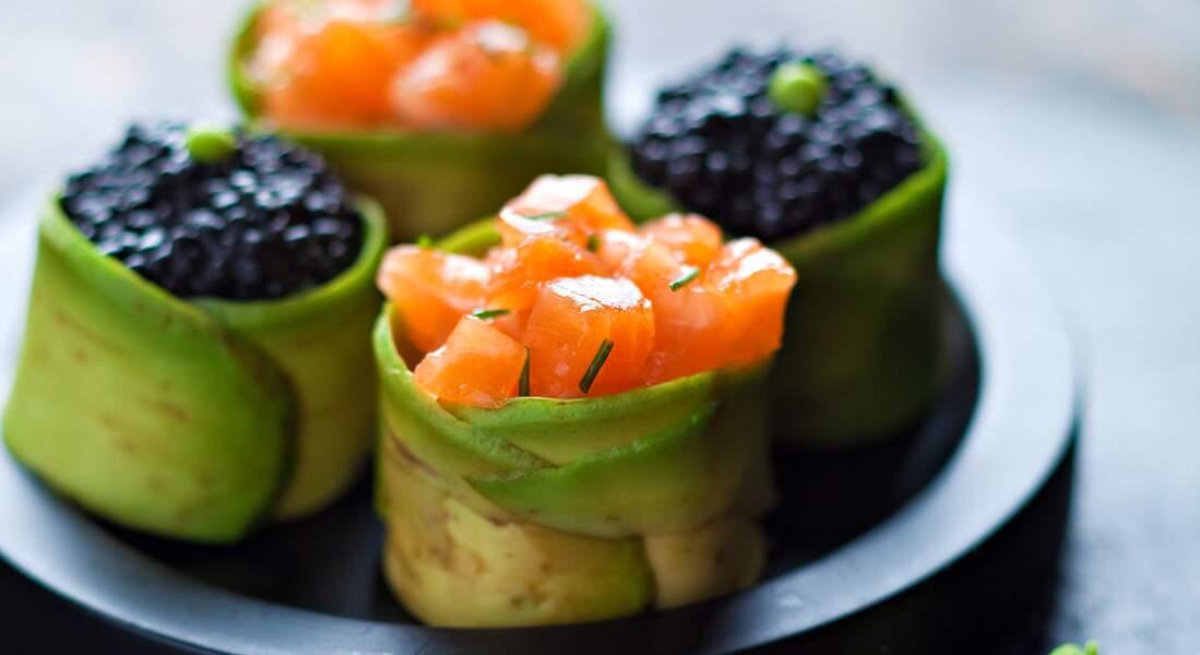 Tartare de saumon et œufs de poisson