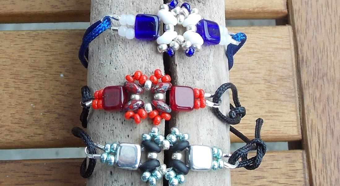 Un bracelet en perles de rocailles