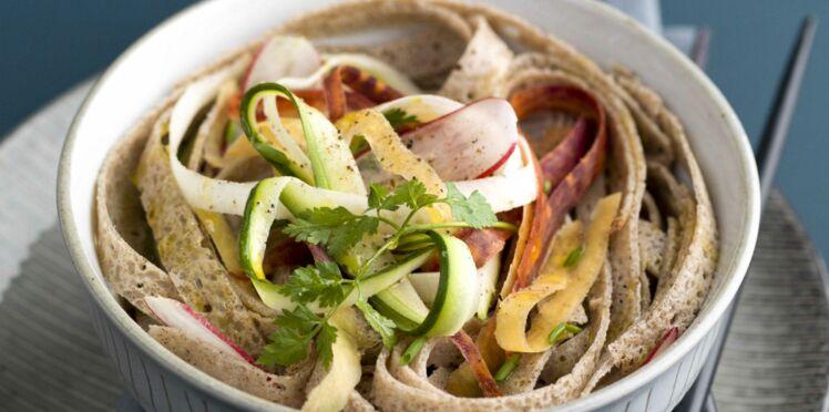 Galettes façon soba et tagliatelles de légumes racines