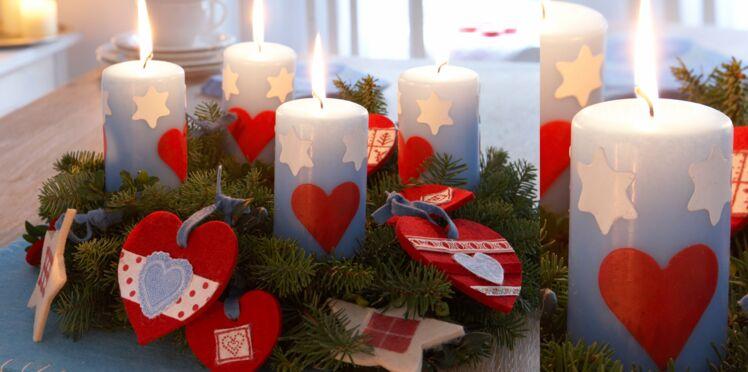 Des bougies avec des coeurs