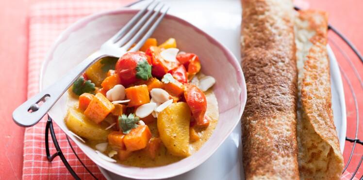 Dosa et curry de légumes