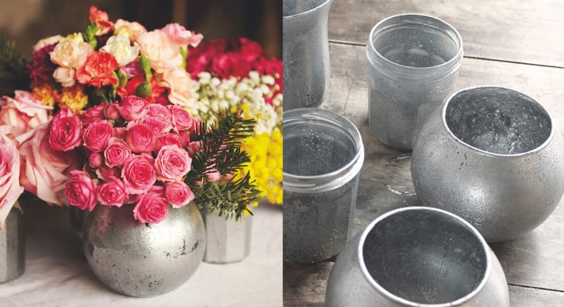 Un vase déco en verre mercurisé