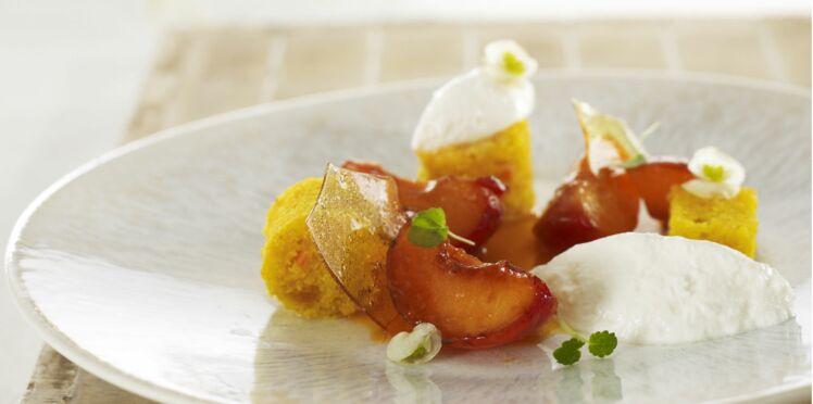 Abricot rôti, faisselle et carot cake