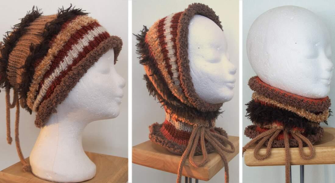 Un snood-bonnet au tricotin