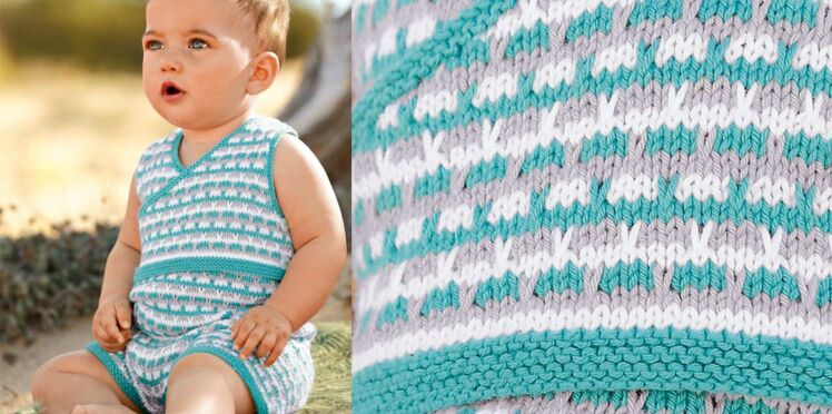 Le combishort layette au point fantaisie