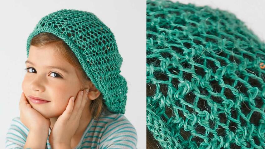 Le bonnet ajouré fillette vert