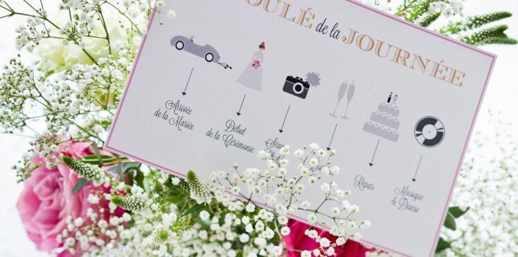 Mariage : le printable gratuit du programme de la journée