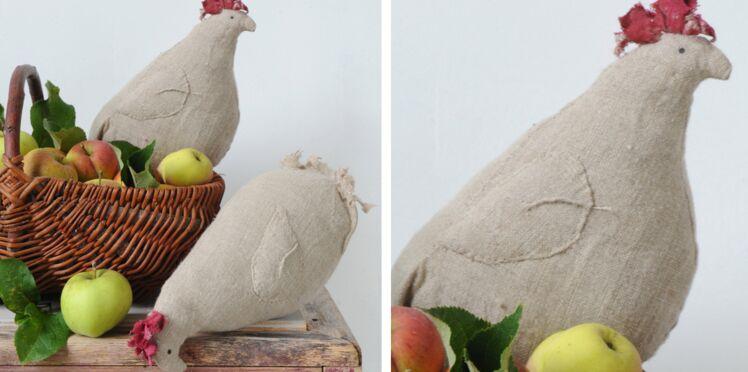Des coussins poules en lin