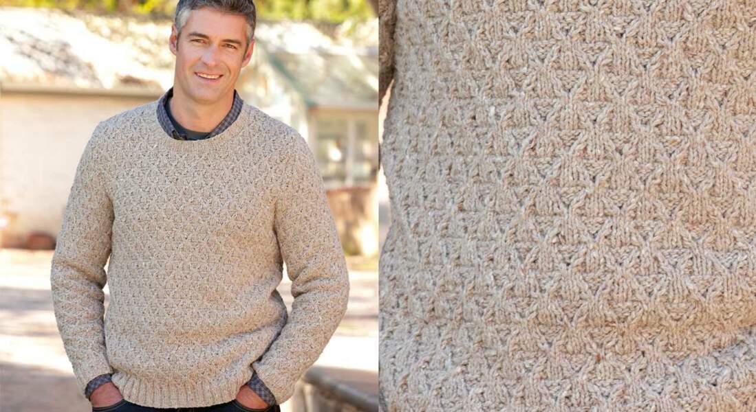 Le pull tweed torsadé pour homme