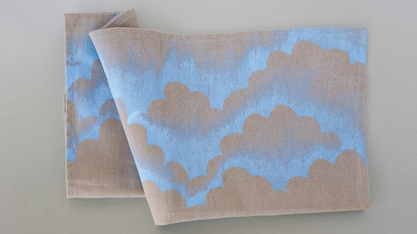 Peinture textile : des serviettes nuage