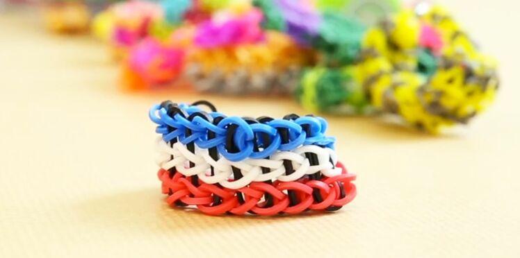 Bracelet élastique Rainbow loom : le modèle triple simple
