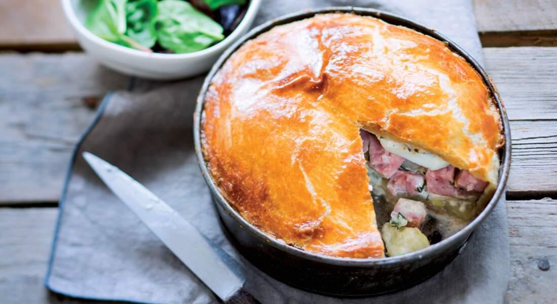 Tourte pommes de terre et saucisson à l'ail