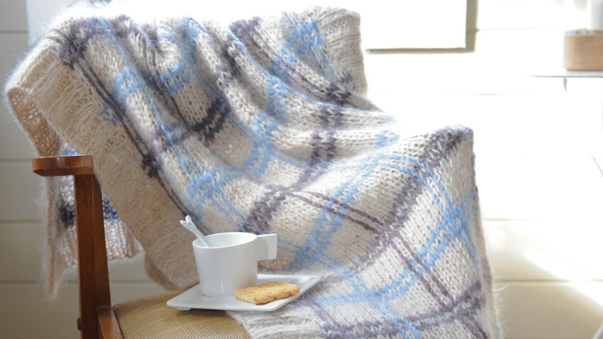 Un plaid à tricoter en laine