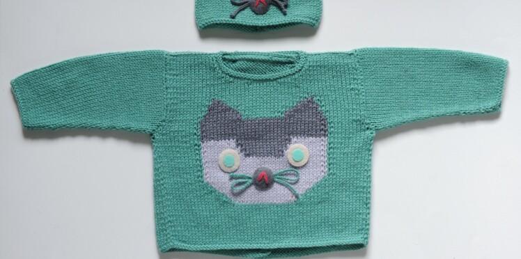 393db16dcb8 Un pull chat à tricoter pour bébé   Femme Actuelle Le MAG