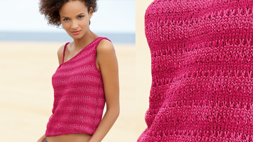Un top fuchsia au crochet