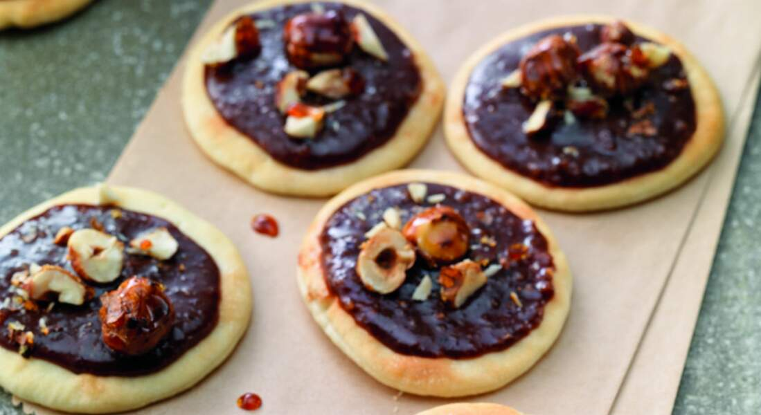 Pizzettes chocolat et noisettes caramélisées