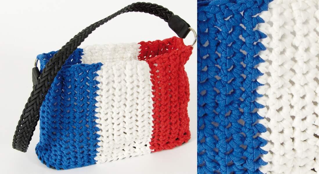 Un sac tricolore au crochet