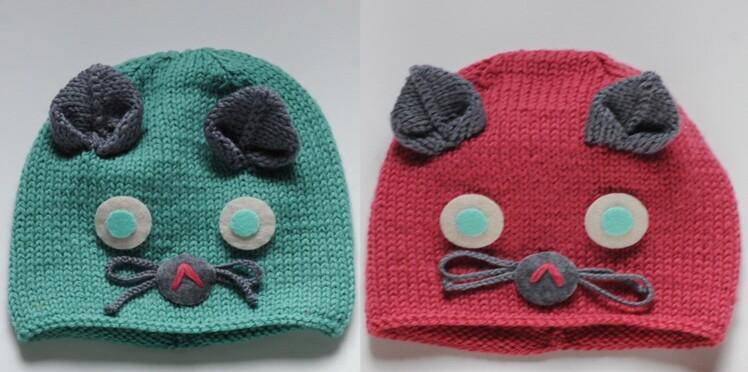 6eaf86f15eb Un bonnet chat à tricoter pour bébé   Femme Actuelle Le MAG