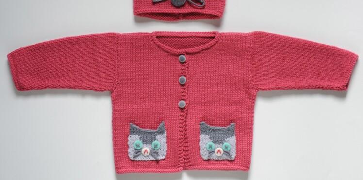 0219bdfd002 Un gilet chat à tricoter pour bébé   Femme Actuelle Le MAG