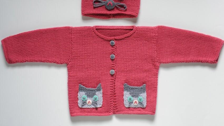 Un gilet chat à tricoter pour bébé