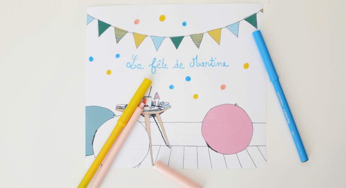 Carte d'anniversaire à colorier