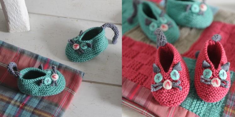 8bfec60cd5a Des chaussons chat à tricoter pour bébé   Femme Actuelle Le MAG