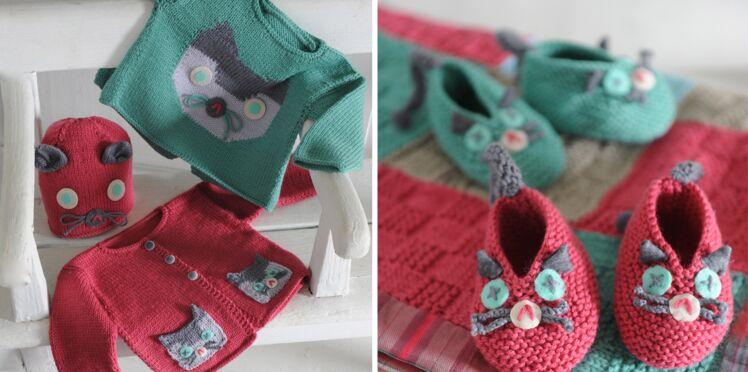 Des tricots à motif chat pour bébé