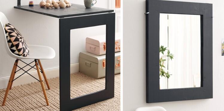 Meuble pratique : une table design et un miroir