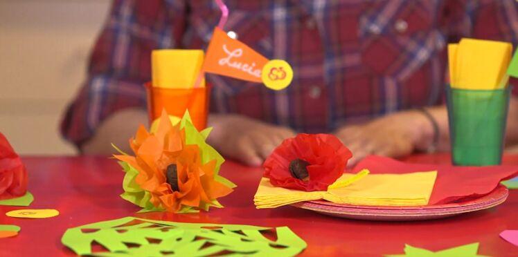 Un buffet d'anniversaire décoré avec du papier
