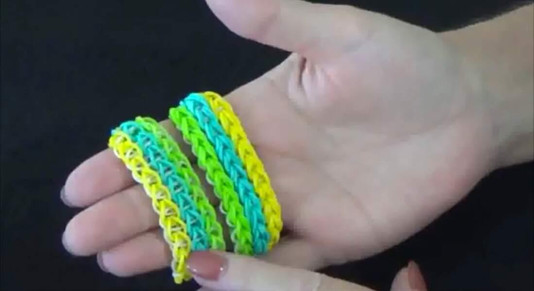 Rainbow loom : un bracelet triple en chaîne simple