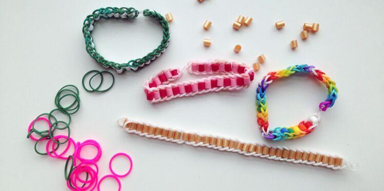 Bracelet élastique Rainbow Loom avec des perles à repasser