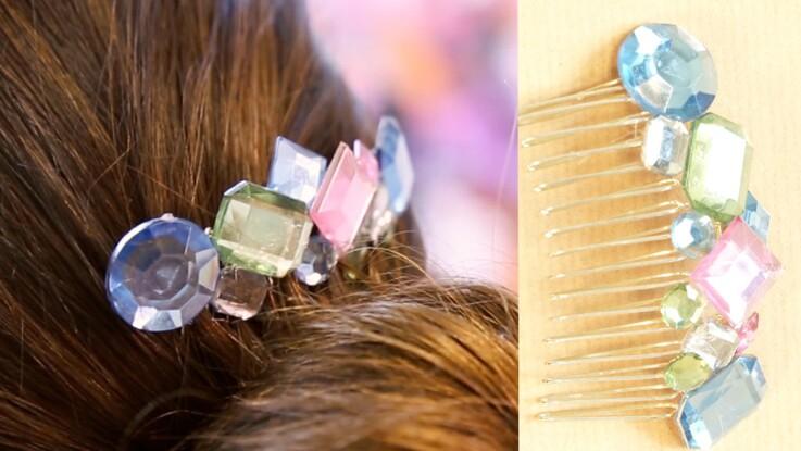 Accessoire pour cheveux : un peigne orné de strass