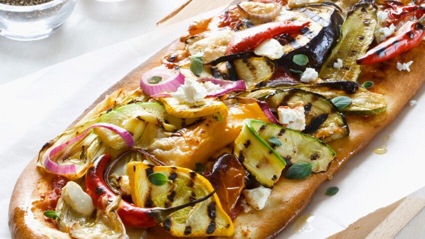 Pizza aubergines et poivrons