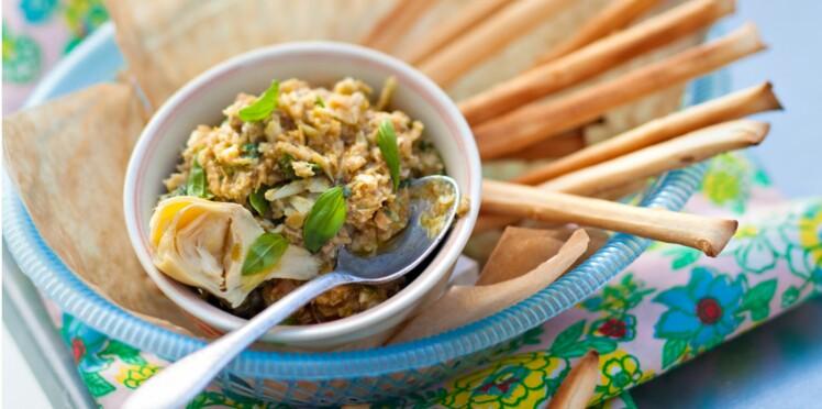 Tapenade de coeurs d'artichauts, basilic et olives vertes