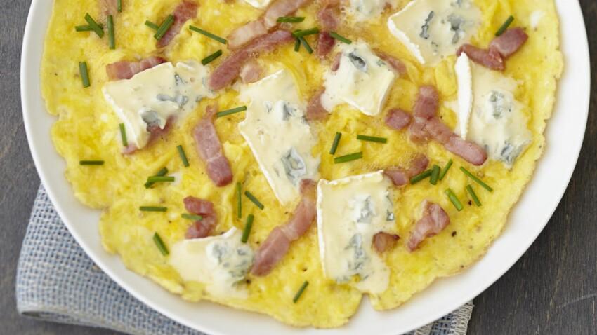 Omelette de lardons et ciboulette au bleu