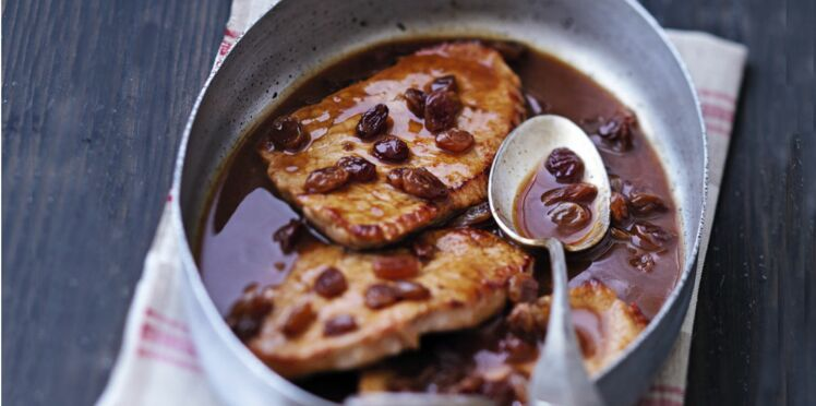Escalope de veau sauce aigre-douce aux raisins secs