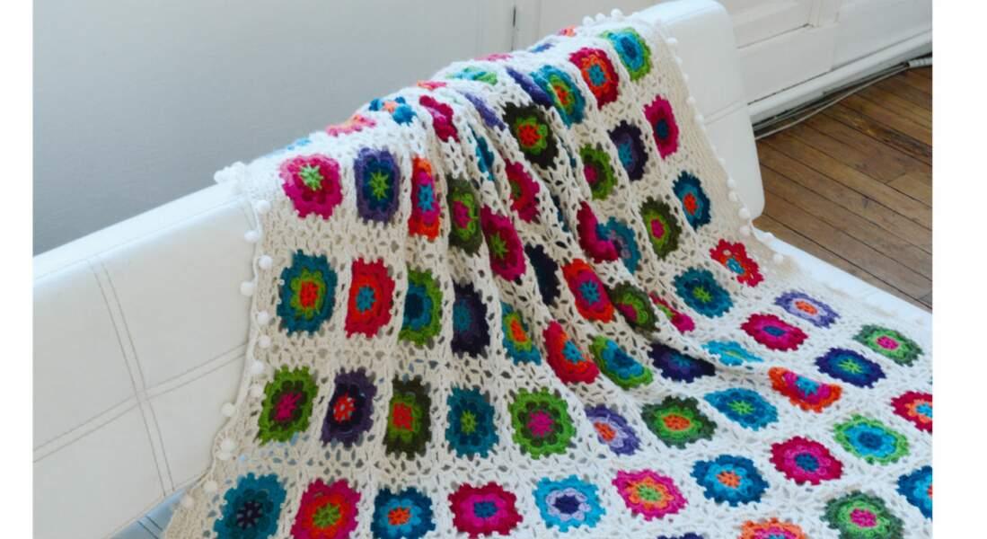 Crochet : un plaid de granny square en alpaga