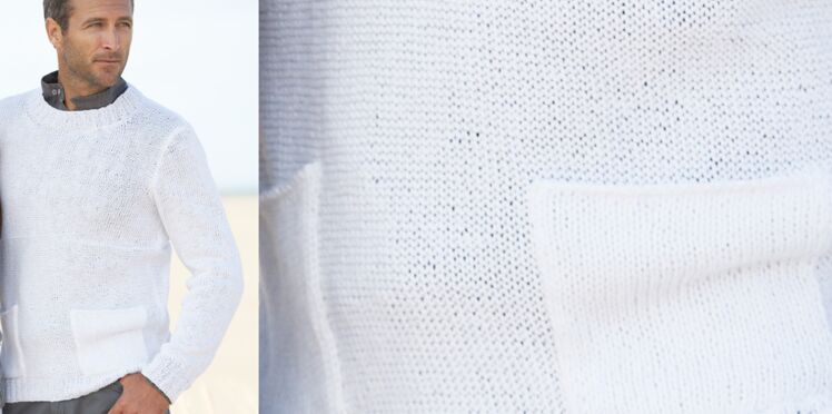 Le pull col rond blanc homme