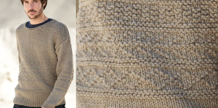 Le pull col rond point fantaisie homme
