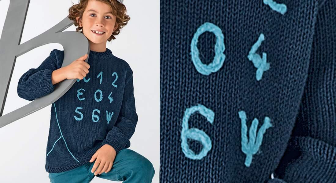 Pull en jersey décoré de chiffres