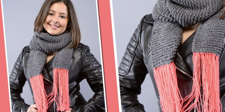Tricot   un modèle d écharpe au point mousse   Femme Actuelle Le MAG 3ce0b263e9c