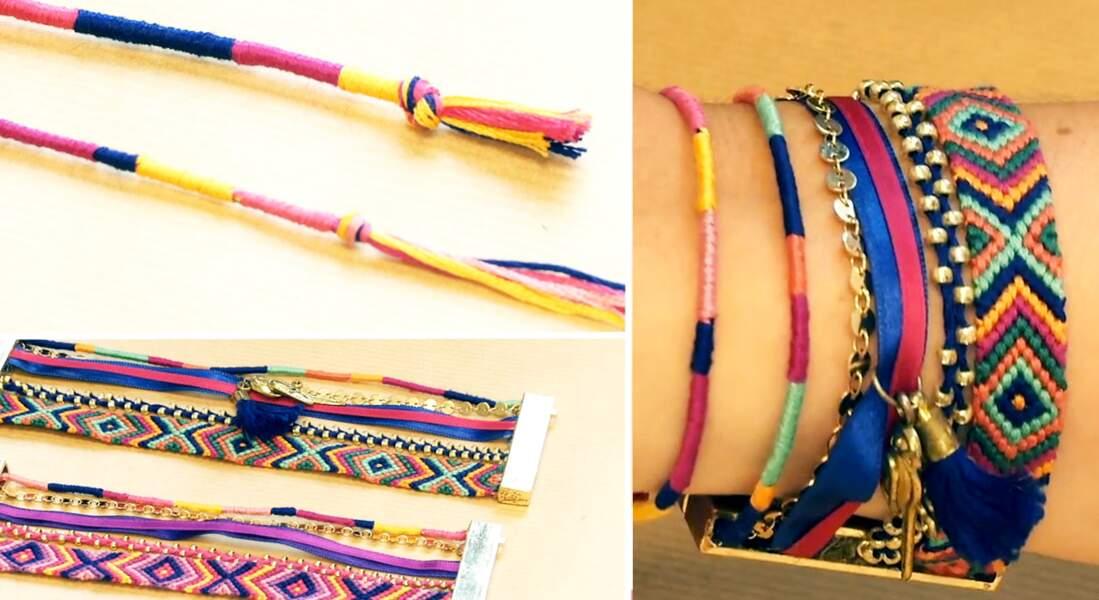 Bracelet brésilien : le twist, tissé en rond