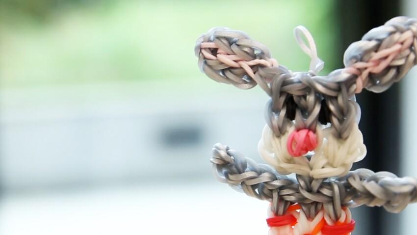 Animaux : un lapin en élastiques Rainbow Loom