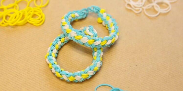 Bracelet élastique Rainbow Loom : modèle tressé Double Braid