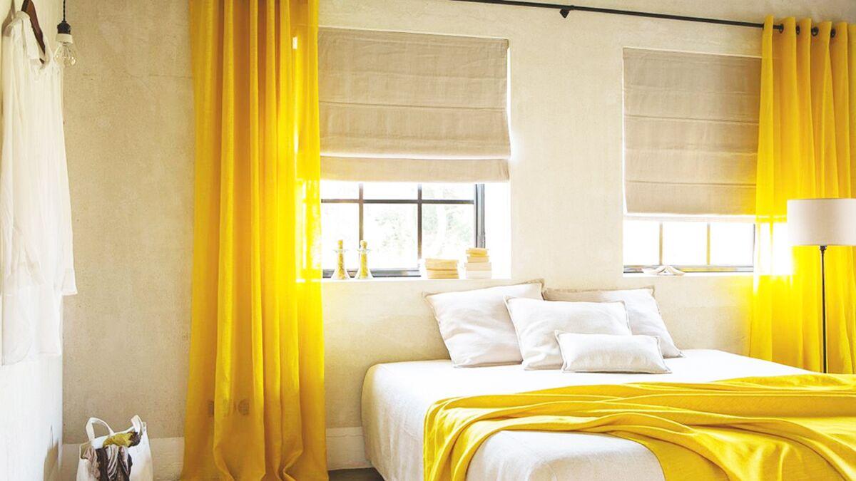 Deco Chambre Jaune Et Gris une déco de chambre jaune et lumineuse : femme actuelle le mag