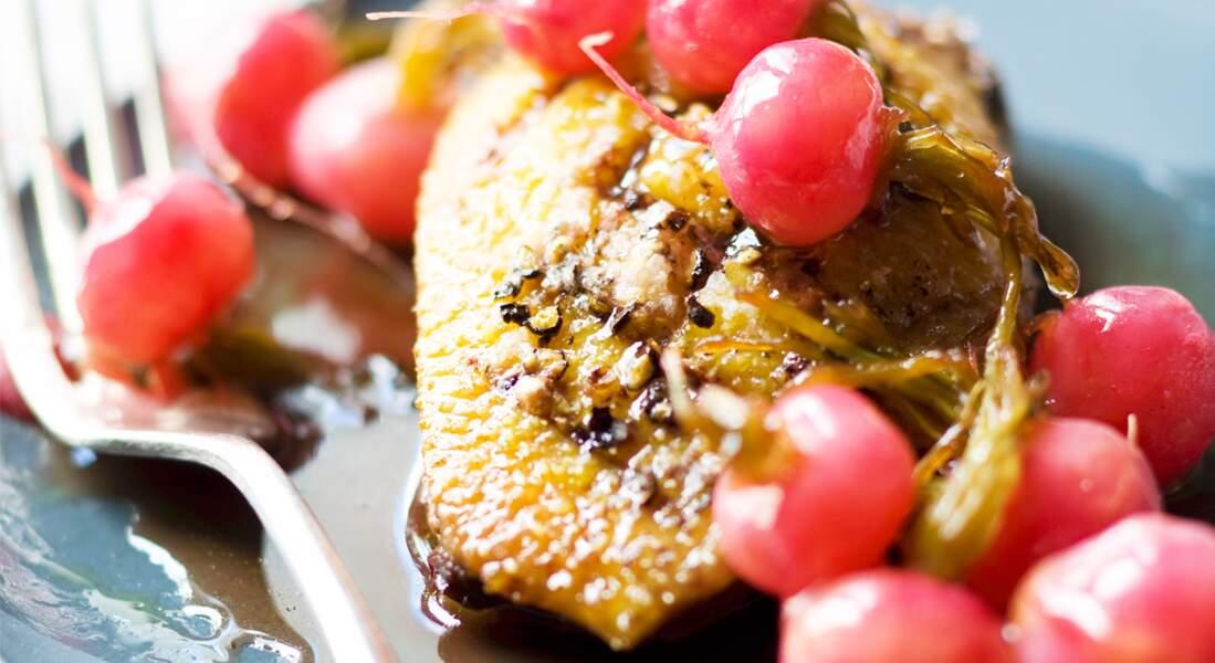 Magret de canard aux petits radis glacés