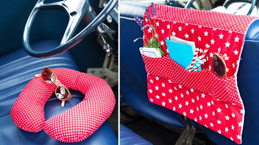 Un vide-poches de voiture et un coussin de tête pour voyage