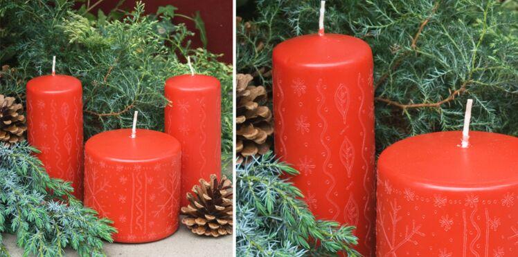Décoration de Noël : bougies gravées
